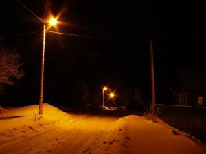 деревня зимним вечером